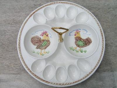 hen and rooster, vintage egg plate, California pottery