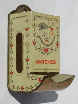hen and tulips old metal litho match safe wall box for country kitchen