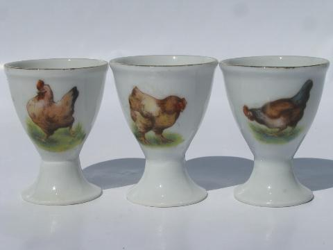 hens & roosters, vintage Japan china egg cups, egg cups set w/ chickens