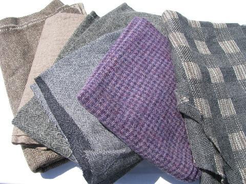 Herringbone Tweed Plaid Lot Vintage Wool Fabric For