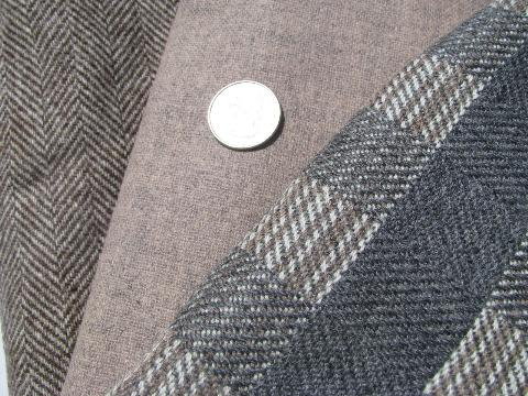 herringbone tweed, plaid lot vintage wool fabric for sewing crafts