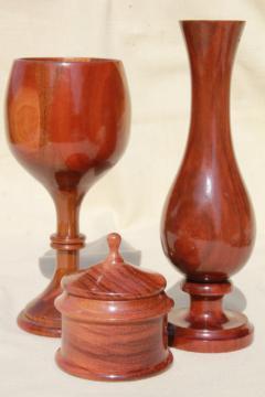 highly polished handmade carved wood goblet, box, vase - handcrafted vintage treenware