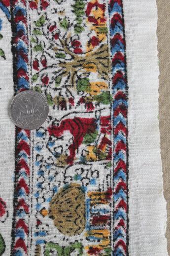 Hippie Vintage Block Print Cotton Fabric Bedspread Scenes