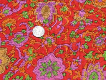 hippie vintage cotton / rayon fabric, mod paisley floral print in wild colors