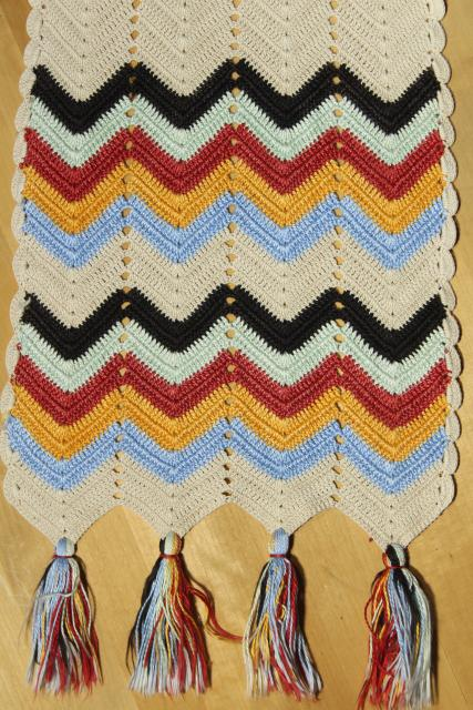 hippie vintage crochet table runner w/ tassels and chevron stripes, indian blanket colors