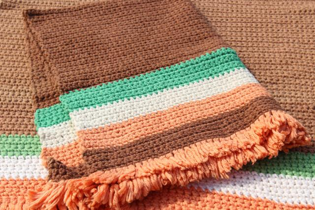 hippie vintage crocheted rugs, soft thick yarn crochet scatter rugs w/ fringe