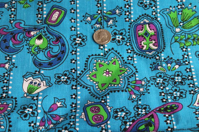 hippie vintage mod paisley print cotton fabric, bright aqua blue, purple, green