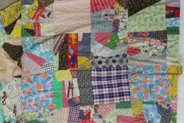 hippie vintage patchwork crazy quilt bedspread, a jumble of cotton prints of all colors
