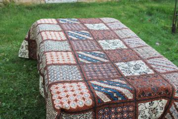 hippie vintage quilted cotton poly bedspread, boho batik print indigo blue & brown