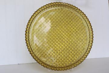 hobnail bubble pattern pressed glass tray or cake plate, amber color vintage glassware