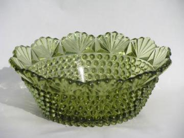 hobnail & fan pattern, vintage pressed glass bowl in green