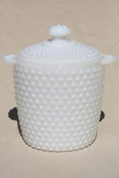 hobnail milk glass cookie jar w/ lid, vintage Anchor Hocking glassware