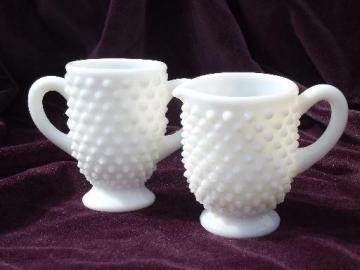 hobnail milk glass creamer and sugar set, vintage Fenton or L E Smith?