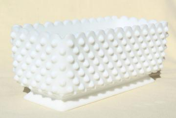 hobnail milk glass flower box planter, vintage Fenton glass