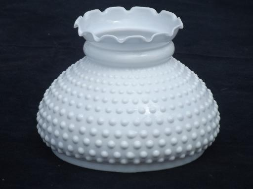 Glass Shade Lamp: hobnail milk glass shade for student lamp, vintage replacement shade,Lighting