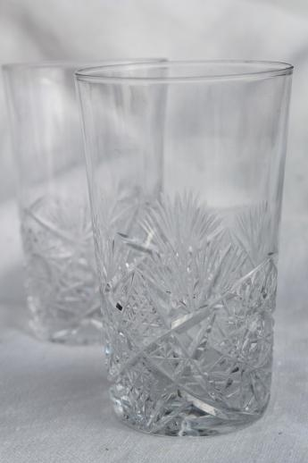 hobstar brilliant cut crystal glass tumblers, vintage cordial glasses