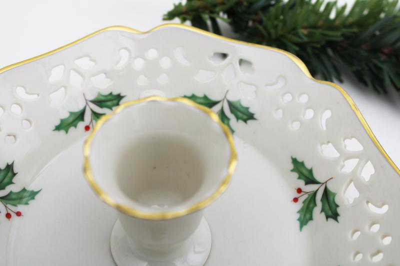 holiday holly Lenox china candle holder, chamber candlestick w/ pierced border