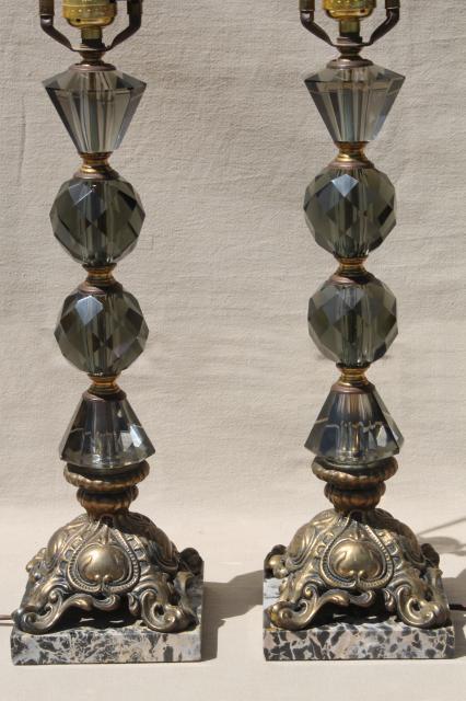 Hollywood Regency Vintage Italian Bronze Lamps W Smoke