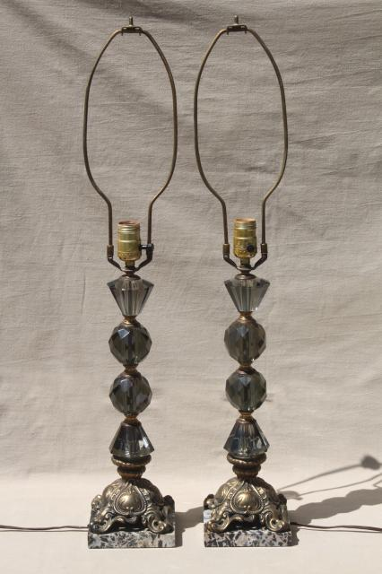 hollywood regency vintage Italian bronze lamps w/ smoke glass crystals, black marble lamp bases