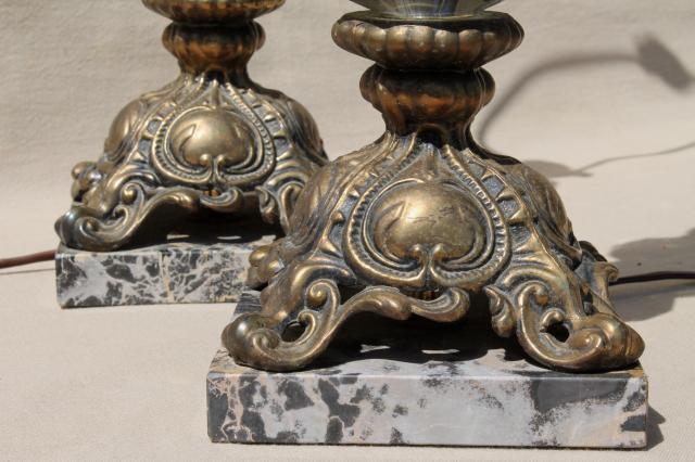 Hollywood Regency Vintage Italian Bronze Lamps W/ Smoke Glass Crystals,  Black Marble Lamp Bases