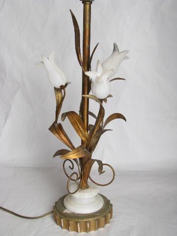 Hollywood Regency Vintage Italian Tole Table Lamp Antique Gold Metal W Alabaster Roses