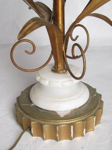 hollywood regency vintage Italian tole table lamp, antique gold metal w/ alabaster roses