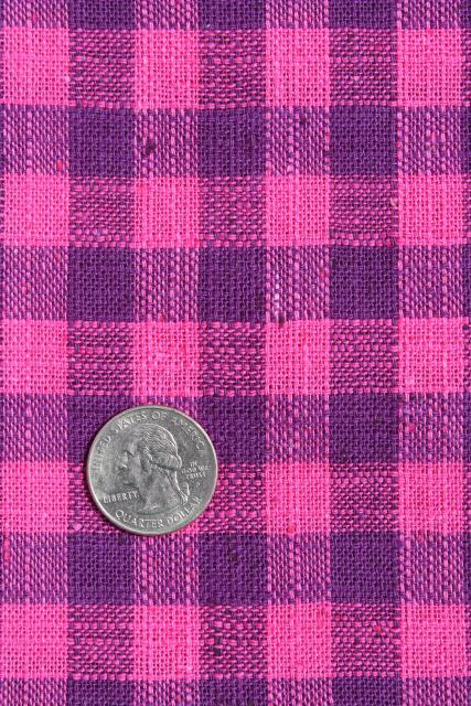 homespun weave linen or linen cotton fabric, plum purple / fuchsia pink check
