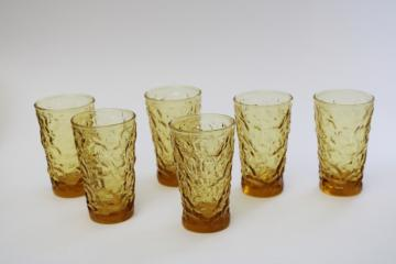 honey gold amber glass tumblers, set of crinkle texture drinking glasses Milano Anchor Hocking