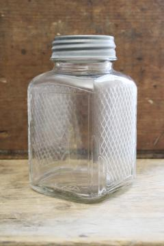 hoosier vintage glass jar, square canister w/ embossed diamond grid pattern