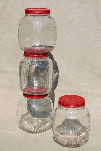 hoosier vintage glass jars w red painted metal lids pantry storage