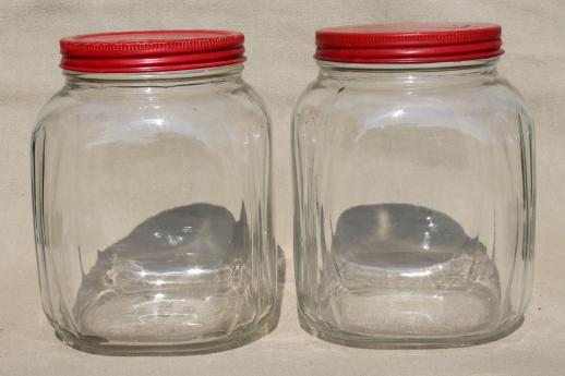 Genial Hoosier Vintage Glass Jars W/ Red Painted Metal Lids, Pantry Storage Jars  Or Kitchen Canisters