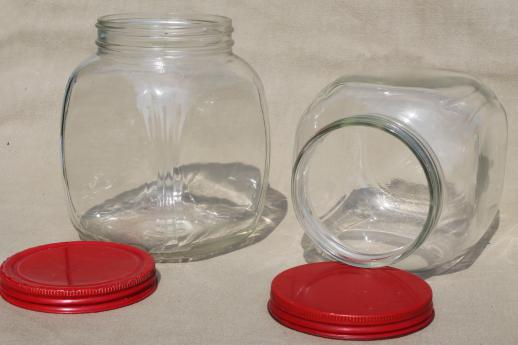 Exceptionnel Hoosier Vintage Glass Jars W/ Red Painted Metal Lids, Pantry Storage Jars  Or Kitchen Canisters