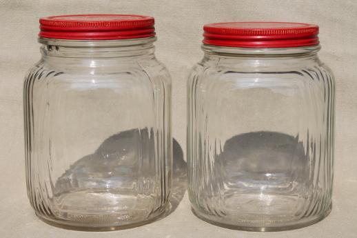 Amazing Hoosier Vintage Glass Jars W/ Red Painted Metal Lids, Pantry Storage Jars  Or Kitchen Canisters