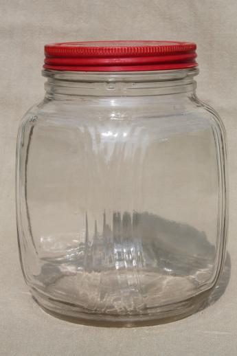 hoosier vintage glass jars w/ red painted metal lids, pantry storage jars  or kitchen canisters