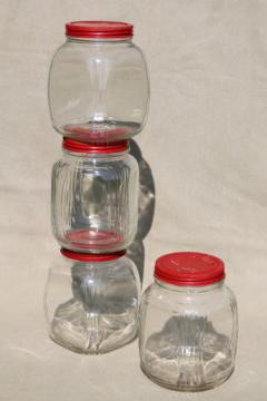 hoosier vintage glass jars w/ red painted metal lids, pantry storage jars or kitchen canisters