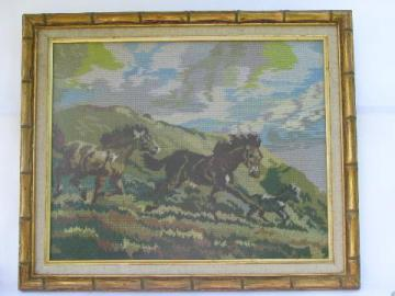 horses running free, vintage wool needlepoint horse picture, large gold frame