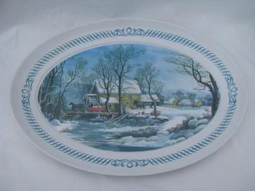 huge Brookpark melmac Thanksgiving turkey platter, vintage Currier & Ives scene