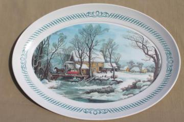 huge Christmas turkey platter w/ Currier & Ives print, vintage Brookpark melmac