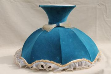 huge Victorian style wire lamp shade frame, 1970s vintage ruffled velvet lampshade for restoration
