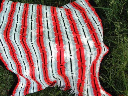 Huge Afghan Or Crochet Bedspread Retro Indian Blanket Red