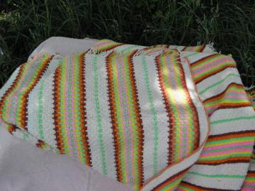 huge afghan or crochet bedspread, southwest Indian blanket retro colors