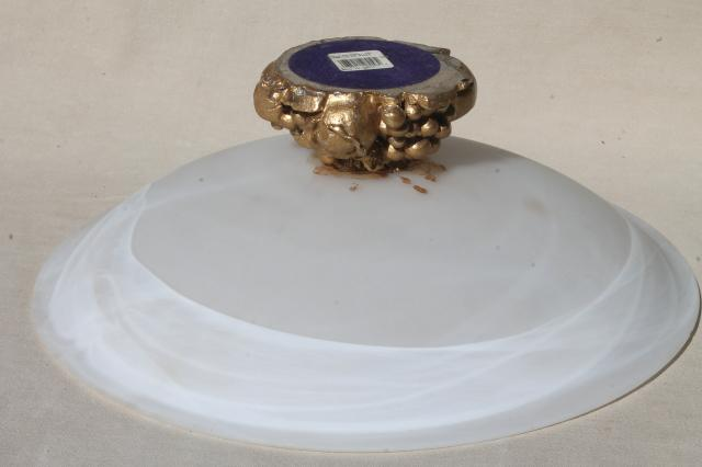 huge alabaster glass bowl, pure white frosted satin glass centerpiece w/ gold stand
