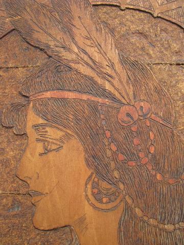 Huge Antique Arts Amp Crafts Flemish Art Woodburned Sign