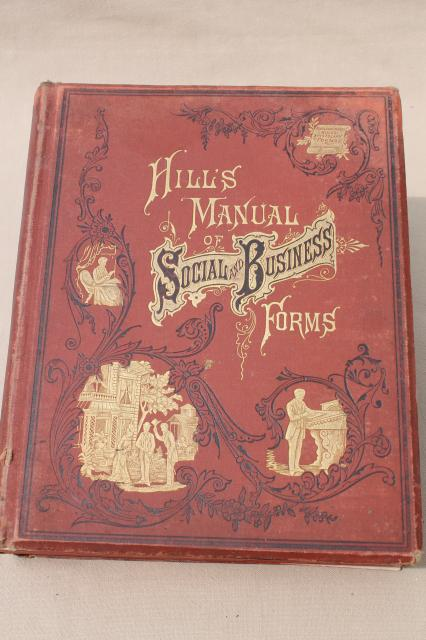 huge antique book, beautiful 1880s manual of letter writing for social & business letters