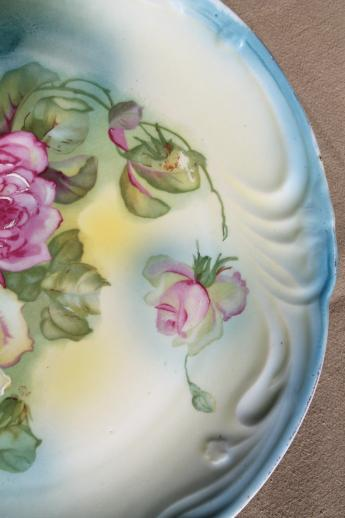 huge antique china charger plate or tray with hand-painted roses, vintage Bavaria