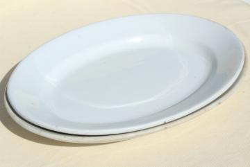 huge antique china platters, heavy old white ironstone oval trays Wedgwood & Meakin