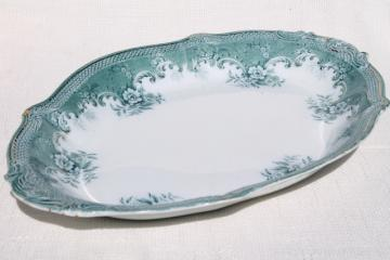 huge antique china tray or platter w/ 1897 date, vintage transferware aqua blue green