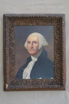 huge antique frame with early 1900s vintage George Washington portrait print