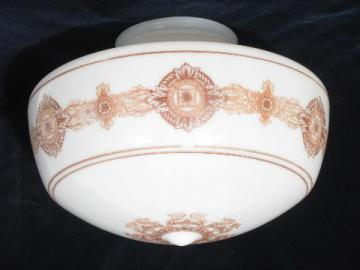 huge antique shade for ceiling fixture pendant light, painted white glass