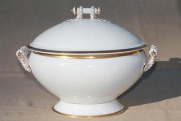 huge antique vintage Limoges china soup tureen, white & gold cable rope Haviland